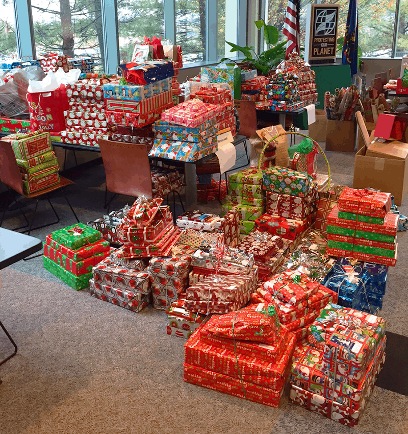 Presents wrapped with help from IQ Inc. at the United Way of Westmoreland County